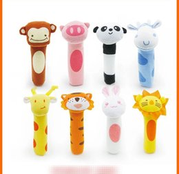 Wholesale baby grips - BIBI Wand grip baby toy Ox tiger lion panda rabbit monkey deer Animal BB stick toy
