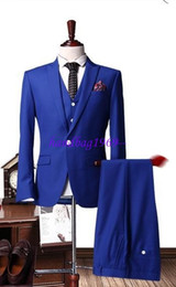 Wholesale Men S Blazer Pink - Wholesale-Very Pouplar Royal Blue Groom Tuxedos Notch Lapel Men Prom Blazer Prom Suit Business Suit (Jacket+Pants+Vest+Tie) NO:001