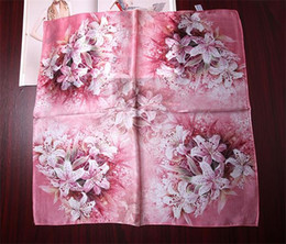 Wholesale Satin Silk Scarfs - 55cm*55cm 100% pure real silk satin square scar fashion print scarves