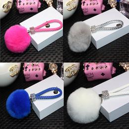 10 pcs / lot 11 couleurs diamant 8 cm boule de fourrure de lapin tressée corde femmes clé voiture mousqueton porte-clés pendentif pour sac pendentif en peluche ? partir de fabricateur