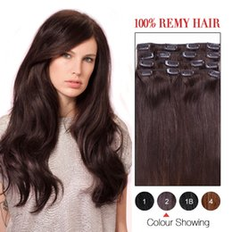 Wholesale Extention Human Hair Indian - Clip In Human Hair Extention Silky Straight 8A Color #2#100% Human Hair Extensions 2# 16-24inches Brazilian Clip In Hair Preferential Price.