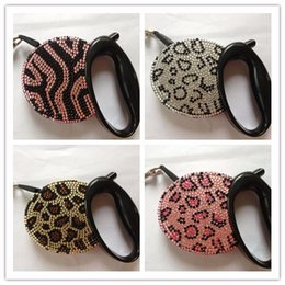 Wholesale Crystal Retractable Leash - Free shipping New top Luxurious crystal Pet dog retractable leash lead Flexible retractable leads pet crystal animal style