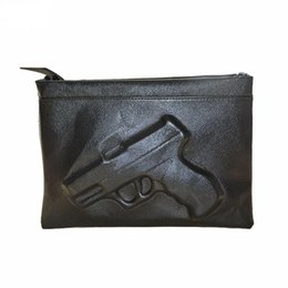 Wholesale Small Shoulder Straps Wholesale - 2016 Black Women Messenger Bags 3D Print Gun Bag Designer Leather Clutches Bag Ladies Envelope Clutches Shoulder Bag With Strap 1623