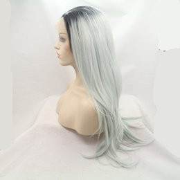Wholesale Long Grey Wig Heat Resistant - Synthetic Hair heat resistant Silver Grey color Natural straight style Lace Front Wig Long Sexy Fashion Wig