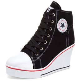 Wholesale Black Zipper Shoes - 2016 Women Platform Wedges High Top 8cm Height Increased Thick Soled Elevator Canvas Zippers Shoes Woman Star