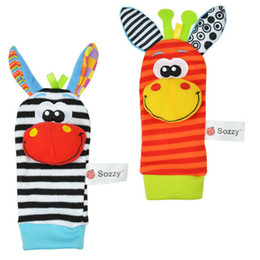Wholesale Baby Toys Educational Lamaze - New Lamaze Style Sozzy rattle Wrist donkey Zebra Wrist Rattle and Socks toys Baby Educational Toys (1set=2 pcs wrist+2 pcs socks) ZD148