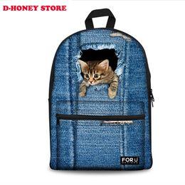 Wholesale Animal Zoo Backpacks - 3D print cute cat women canvas backpack for teenage girls zoo animal school backpacks for student casual laptop denim bule bags