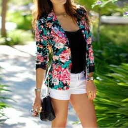 Wholesale Women Flower Blazer - 4109women's clothing 2017girl women new fashion flower print leisure slim fit blazer jacket ladies spring autumn jackets coat blazers suits