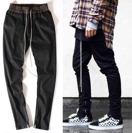 Wholesale High Waist Distressed Jeans - Wholesale-high quality men clothes famous slp ankle zipper justin bieber rockstar black distressed ripped skinny god jeans hip hop