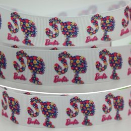 """Wholesale Grosgrain Ribbon Printed Brand - 7 8"""" 22mm Popular Printed White Dolls Brand Grosgrain Ribbon Bows Crafts Decorations DIY Hair Accessories 50 100Y A2-22-484"""