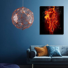 Wholesale People Fire - 1 Picture Combination Red Fire Hot Couple Kiss Each Other Blue Yellow Man And Woman Wall Art On Canvas People For Home Decor