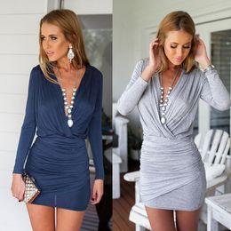 Wholesale Mini Length Empire Dress - Hot Sexy Casual V-neck Sheath Mini Dress High Stree Hip Package Slim Cross Dress Women Clothing