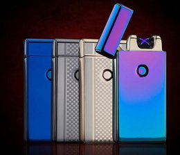 Wholesale Electronic Cigarette Pulse - Electronic Double Pulse Arc Metal Ultra-Thin USB Lighter For cigarette Smoking Fashion Windproof Lighters