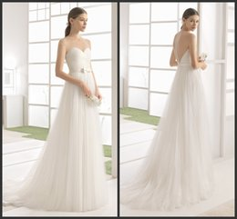 Wholesale Inexpensive Tulle Wedding Dresses - Iullsion Neck Sexy Back Sweep Train Tulle Dress For Wedding A Line Covered Bottons Real Simple Design Cheap Price Inexpensive Charming