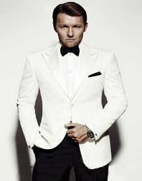 Wholesale Customized Wedding Jackets - Wholesale- Promotion Customized Handsome Fashion Groom Tuxedos Three Pockes Groomsman Wedding Business Man Suits(Jacket+Pants+BowTie)