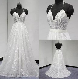 Wholesale Wedding Dress Detachable Halter Strap - Real Image Wedding Dresses Free Shipping With Detachable Belt Halter Applique Pearl Beaded Floor Length Custom Made Lace Wedding Dress