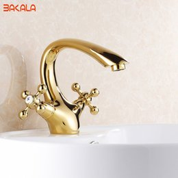 Wholesale Contemporary Gold Sink Faucets - Gold Bathroom Faucet Contemporary Concise Bathroom Faucet Golden Polished Brass Basin Sink Faucet Dual Handle bath mixer GZ7302K