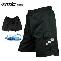 Wholesale Baggy Bike Shorts - santic MTB Road Thickening shorts men bicycle Quick-dry 3D Padded black Mountain Bike Bicycle Leisure Baggy shorts M-4XL