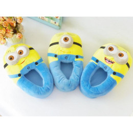 Wholesale Novelty Fabric Prints - Free shipping!Despicable Me Little Yellow People 3D Eyes Plush Bag with Winter Indoor Warm Cotton Slippers