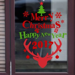 Wholesale Happy New Year Glasses - 2017 Merry Christmas And Happy New Year Window New Festival Shop Decoration Vinyl Wall Sticker Home Decal Decor Free DHL