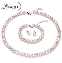 Wholesale Cultured Pearl Necklace Set - Bridal girls jewelry sets natural pearl jewelry set bridesmaid,cultured pearl necklace jewelry sets conjuntos joyas de perlas
