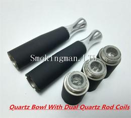 Wholesale D E - Quartz Bowl Dual coils Quartz wax burner skillet atomizer ego-d skillet dual coil E cigs Glass Globe 510 Ceramic cartomizer Vapor vaporizer