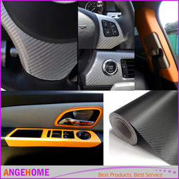 Wholesale Motorcycle Detailing - 30x127cm (12''x50'') Carbon Fiber Vinyl Film Car Stickers Waterproof Car Styling Wrap For Auto Vehicle Detailing Car accessories Motorcycle