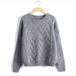 Wholesale Chunky Sweaters - Winter Sweater Women 2017 Fashion Long Sleeve O-Neck Twist Chunky Cable Thick Knitted Loose Jumper Women Sweaters And Pullovers