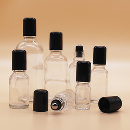 Wholesale Massage Oil Bottles - 5-100ml Transparent Glass Bottle with Roller Ball Steeling Medicinal Oil Massage Bottle Small Portable Perfume Container