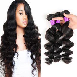 Wholesale Derun Hair - mongolian virgin hair weave loose wave hair sale 3 Bundles loose wave hair wefts loose wave remy hairs derun cheap weave