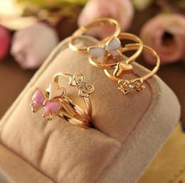 Wholesale Sparkling Rhinestone Ring - 3pcs set accessories adjustable white pink Enamel glaze sparkling heart butterfly cutout rhinestone midi finger punk mini ring for women