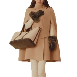 Wholesale Ladies Hooded Poncho - 2017 Autumn Fashion Women Winter Jacket England Style Vintage Batwing Wool Warm Cloak Poncho Capes Coat for Ladies Casaco XH925