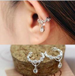 Wholesale Cuff Clip Cool Earring - New women's Fashion Ear Cuff COOL Wrap Rhinestone Cartilage Clip On Earring Non Piercing