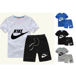 Wholesale Boys Kids T Shirts - Summer Brand Baby Boys Girls Cotton Suits Children's Sports Suits Kids Leisure T Shirt+Shorts Clothes Sets