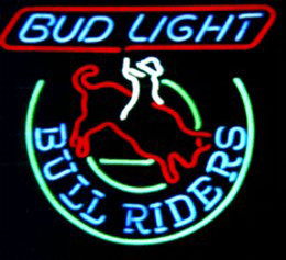 "Wholesale Bud Sign Light - Bud Light Bull Riders Neon Sign Custom Handmade Real Glass Tube Store Beer Bar KTV Club Pub Advertising Display Neon Signs 19""x15"""