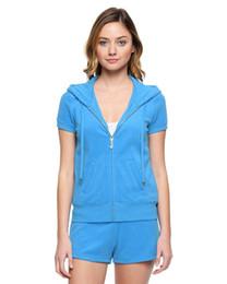 Wholesale Pink Sz L - women Blue terry cloth short sleeve hoodie   shorts tracksuit set Capri Set Blue Track Suit Jacket and Pants Brand New with tag SZ S M L XL