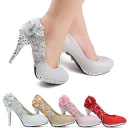 Wholesale Silver Beaded Peep Toe Heels - High Heels 10CM Wedding Bridal Evening Party Cinderella Shoes Women'S Pumps Fake Crystal Rose Butterfly 2015 New Fashion Shoes