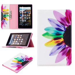 Wholesale Screen Cover For Kindle Fire - For Fire Kindle 2017 Smart Tablet Case Cover Stand Fashion Tablet Designer PU Leather Cover Sunflower Pattern