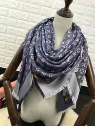 Wholesale sequins scarves - Factory Sell brand design Fashion Letter pashmina scarf shawl women scarf metal printing Wool cashmere scarf wraps 140*140CM