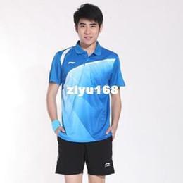 badminton t-shirts großhandel Rabatt Großverkauf - freies Verschiffen! Li Ning Badminton, der Männer und Frauen Sportklage kleidet, drehte Rundhalsausschnitt Kurzhülse T-Shirt Art- und Weisebadmintonsätze