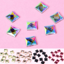 Wholesale 8mm Flatback Crystals - Wholesale-Glass 100 piece lot 8mm FlatBack Stones Square Crystals Hotfix Rhinestones Sewing Beads Wedding Dress Bags Decoration