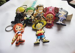 Wholesale one piece anime keychain - One Piece Dragon Ball Wukong keychain colorful doll key chain pendant cartoon bag pendant gift anime movies accessories