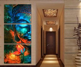 Wholesale Blue Wall Decor Art Canvas - 3pcs Abstract blue Buddha Modern home decor Canvas Print Painting Wall Art Picture For Living Room decor picture