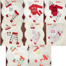 Wholesale Baby Girl Year Outfits - New Year Christmas Children Baby Clothes Newborn Baby Boy Girl Clothes Bodysuit Romper Long Pants with Cap Outfit Xmas freeshipping