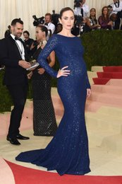 Wholesale Emily Blunt Dresses - Emily Blunt pregnant women prom lace long sleeve met gala Red Carpet Dresses long prom dresses black girl prom plus size evening dresses
