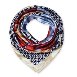 Wholesale Wholesale Black Square Scarf - 90cm*90cm New Fashion Silk Square Scarf Women Imitated Silk Rose Flower and Houndstooth Printed Scarves Shawl Hijab