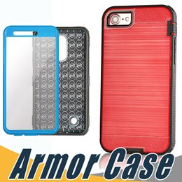 Wholesale Dual Pro Iphone - Defender Armor Case Brushed Dual Laye Cover With Screen Film For ZTE Z982 Sequoia Zmax Pro 2 Z986 Alcatel Idol 4 Tru Stellar FIERCE 4 A3 A30