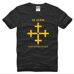 Wholesale Male Rock Fashion - 2016 New Summer God Hates Us All T Shirts Men Fashion O-Neck Short Sleeve Rock Slayer Male T-shirt Top Quality Cotton Brand Tshirt S-3XL Hot