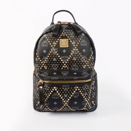 Wholesale Trendy Stylish Bag - Cow Leather Italian Rivet Double Shoulder Bag Stylish Leather Backpack Trendy Casual Travel Bag Computer Bag