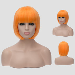 Wholesale Cosplay Wigs For Cheap - 2016 Halloween Fashion Synthetic Hair Straight Short Wigs Cheap Full Lace Bob Wig Style Multi Color 7Colors For Cosplay Party